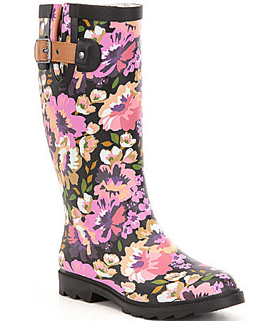 Chooka Chooka Audrey Floral Print Waterproof Rubber Tall Rain Boots