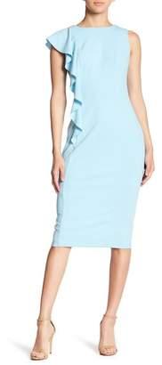 London Times Cascade Ruffle Crepe Side Dress