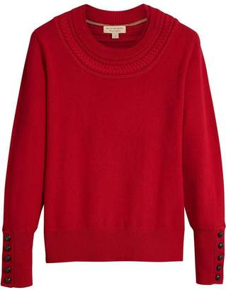 Burberry Cable Knit Yoke Cashmere Sweater