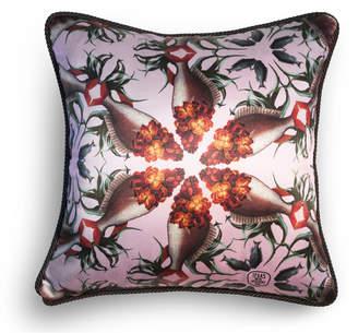 "Texas And The Artichoke Silk & Velvet Cushion ""Wallflower Fish"""