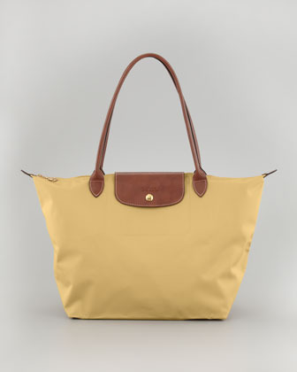 Longchamp Le Pliage Large Nylon Shoulder Tote Bag, Yellow