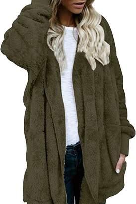 Fly London Fandim Women's Hooded Long Coat Jacket Hoodies Parka Outwear Cardigan Sweater