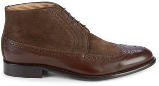 Saks Fifth Avenue Made In Italy Suede & Leather Brogue Chukka Boots