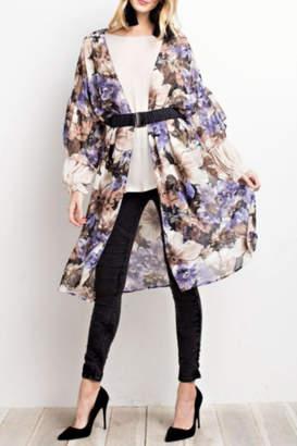 Easel Floral Maxi Kimono