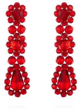 Simone Rocha - Crystal Beaded Drop Earrings - Womens - Red
