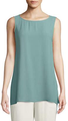 Eileen Fisher Plus Size Silk Georgette Bateau-Neck Long Tank