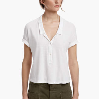 James Perse COTTON LINEN CROPPED POLO