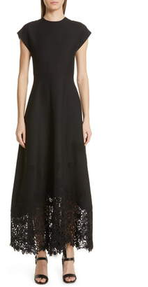 Valentino Laser Cut Hem Crepe Couture Dress