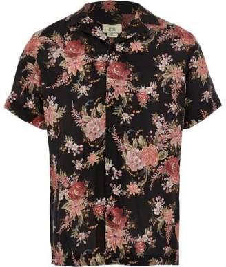 River Island Boys black floral short sleeve shirt