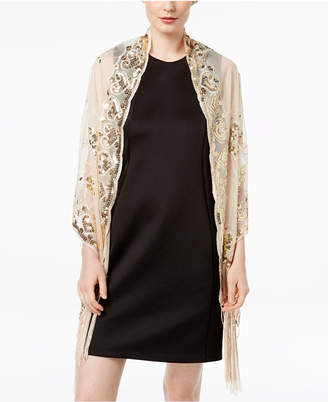 INC International Concepts I.n.c. Floral Sequined Fringe Evening Wrap, Created for Macy's