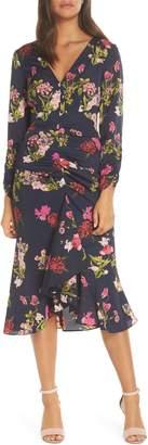 Eliza J Floral Ruched Midi Dress
