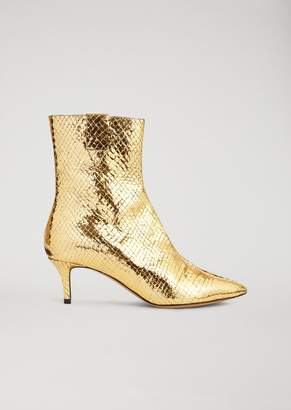 Emporio Armani Ankle Boots In Croc Print Laminated Leather