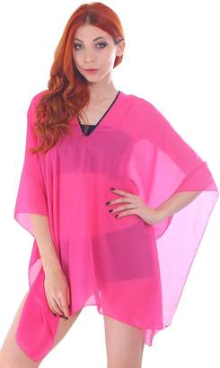 Simplicity Women's Sheer Chiffon Caftan Wrap Poncho Tunic Top