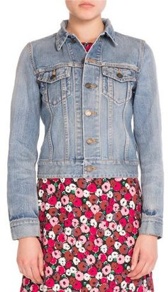 Saint Laurent Love-Patch Denim Jacket, Slate $1,990 thestylecure.com