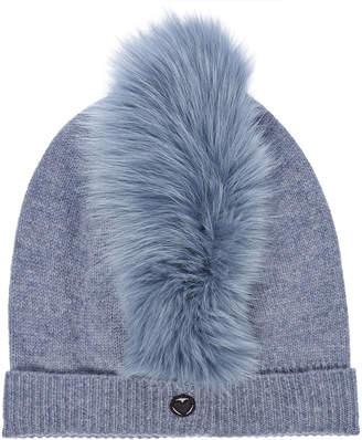Charlotte Simone Mo Mohawk Cashmere Hat with Fox Fur