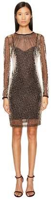 Just Cavalli Long Sleeve Cheetah Print Overlay Dress Women's Dress