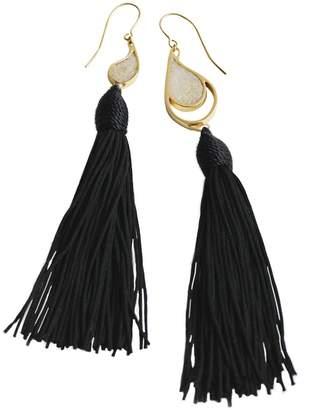 67f107c90e55ea Dee By Diana Gold Sea & Sand Black Tassels Earrings