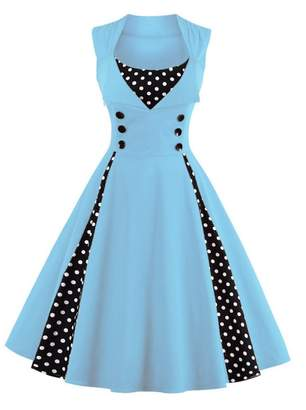 Q&Y Women's Plus Size 50s Vintage Classic Polka Dot Swing Pinup Rockabilly Dress WineRed 2X