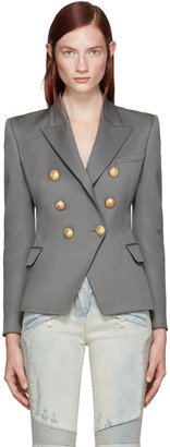 Balmain Grey Double-Breasted Blazer $2,325 thestylecure.com
