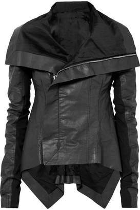 Rick Owens Asymmetric Wool-paneled Coated Linen And Cotton-blend Biker Jacket