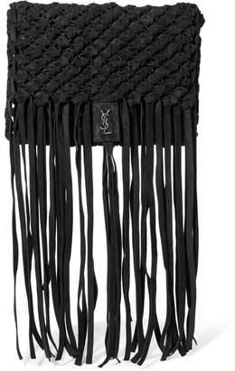 Saint Laurent Fringed Woven Suede Clutch - Black