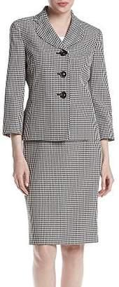 Le Suit LeSuit Women's Gingham 3 Button Skirt Suit