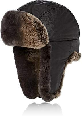 Crown Cap Men's Fur-Trimmed Leather Aviator Hat