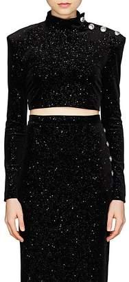 Balmain Women's Galaxy Velvet Crop Top