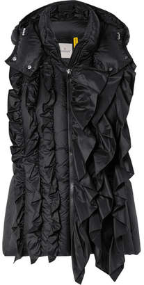 Simone Rocha Moncler Genius + 4 Ruffled Quilted Shell Vest - Black