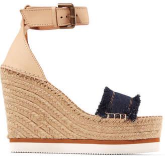 See by Chloe Leather And Denim Espadrille Wedge Sandals - Dark denim