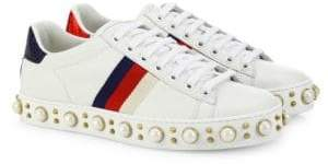 Gucci New Ace Faux Pearl Studded Leather Low-Top Sneakers