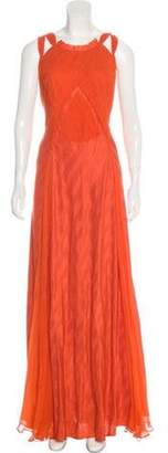 Nina Ricci Silk Pleated Dress Orange Silk Pleated Dress