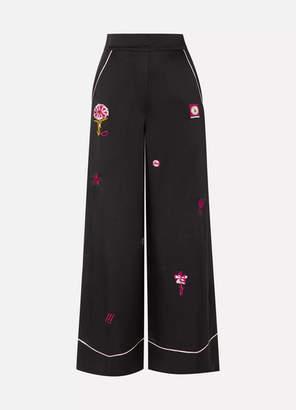 Temperley London Georgie Embroidered Satin Wide-leg Pants - Black