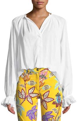 Etro Flare-Cuff Button-Front Peasant Blouse