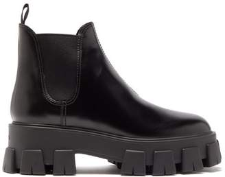 Prada Exaggerated Tread Sole Leather Ankle Boots - Womens - Black