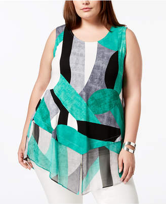 Alfani Plus Size Printed Top, Created for Macy's