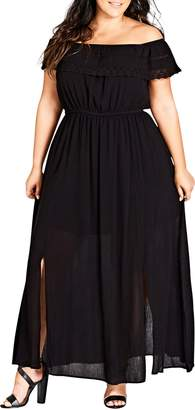 City Chic Off the Shoulder Maxi Dress