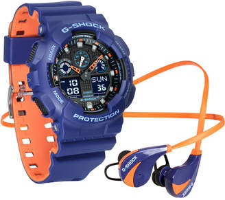 G-Shock Men's Analog-Digital Blue & Orange Resin Strap Watch & Earbuds Gift Set 55mm, a Macy's Exclusive Style $110 thestylecure.com