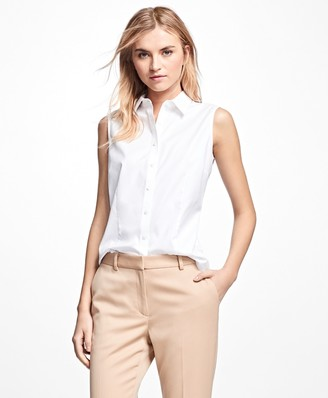 Brooks Brothers Petite Non-Iron Fitted Sleeveless Dress Shirt