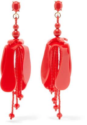 Oscar de la Renta Orchid Beaded Acetate Earrings - Red