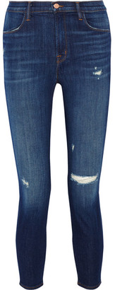 J Brand - Alana Cropped Distressed High-rise Skinny Jeans - Mid denim $240 thestylecure.com