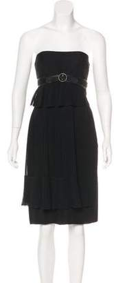 Akris Pleated Strapless Dress