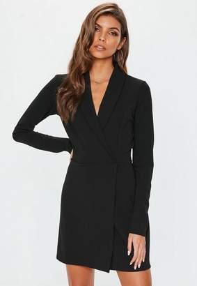 Missguided Petite Black Long Sleeve Blazer Dress, Black