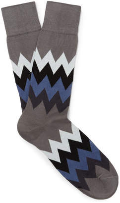 Paul Smith Patterned Stretch Cotton-Blend Socks