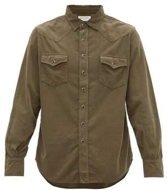 Saint Laurent Western Cotton Corduroy Shirt - Mens - Khaki