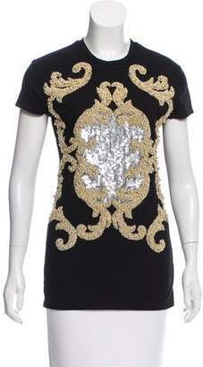 Balmain Embellished Short Sleeve Top