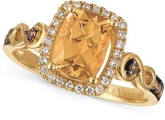 LeVian Le Vian Chocolatier® Papaya MorganiteTM (1 ct. t.w.) and Diamond (1/4 ct. t.w.) Ring in 14k Gold