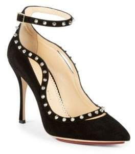 Charlotte Olympia Pimlico Studded Suede Ankle Strap Pumps