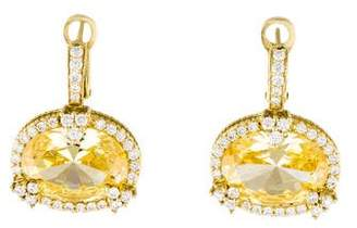 Judith Ripka 18K Diamond & Crystal Monaco Drop Earrings