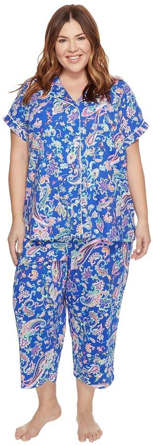 Lauren Ralph LaurenLAUREN Ralph Lauren - Plus Size Short Sleeve Notch Collar Capri PJ Women's Pajama Sets